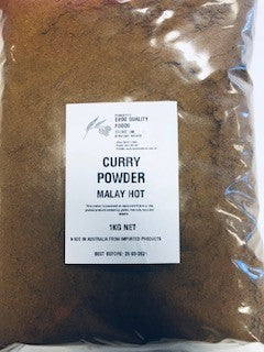 Curry Powder Malay Hot 1kg Bag Evoo QF