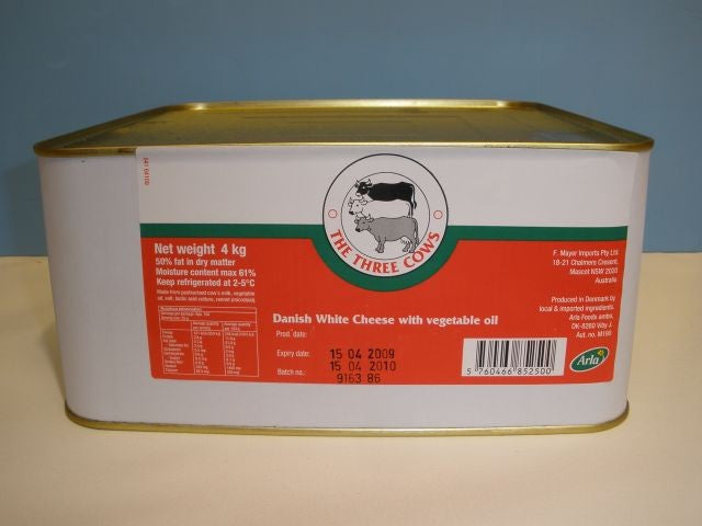 Danish Feta Cheese 4kg Three Cows