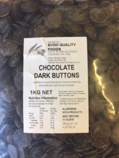 Dark Chocolate Buttons 1kg Bag EVOO QF