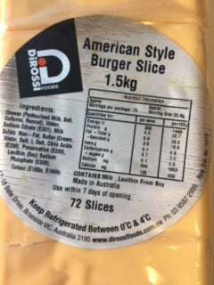 American Style Burger Sliced (USA) 72's (1.5kg Packet ) Di Rossi