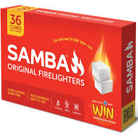 Firelighters fire ignition white bricks 36pk Samba
