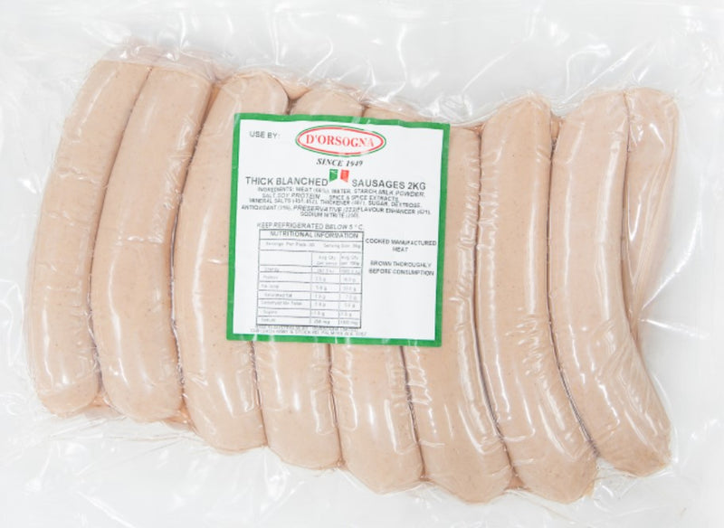 "Thick Blanched Frankfurts 7"" 2kg VacPac Dorsogna"