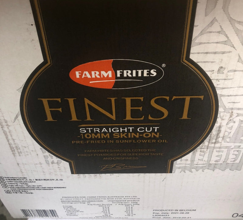Premium Fries Straight Cut Skin On 10mm 6 x 2kg Gluten Free Carton Farm Frites