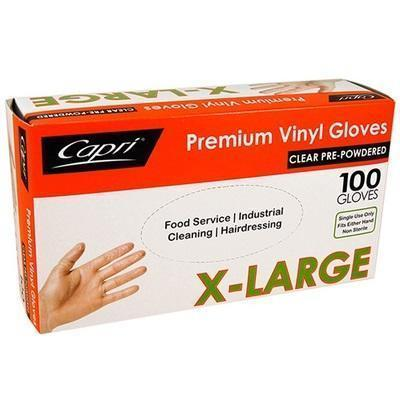 Gloves Vinyl Disposable Extra Large 100's Lightly Powdered (Code GLVCXL)