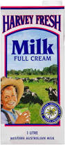 Full cream milk UHT 12 x 1L Harvey Fresh *Sold by the carton*