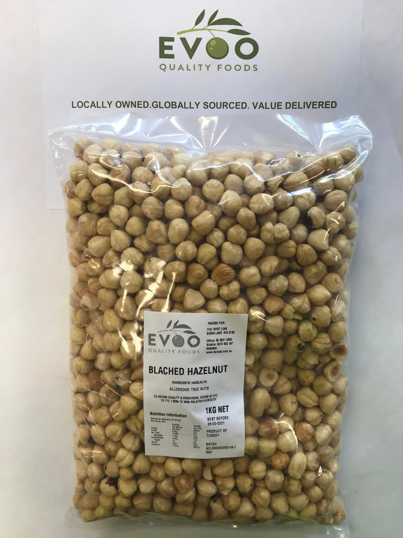 Hazelnuts Roasted and Blanched (skin off) 1kg bag EVOO QF