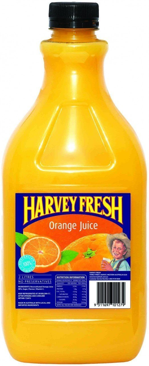 Orange Juice Long Life P. E. T 2 Litre Harvey Fresh