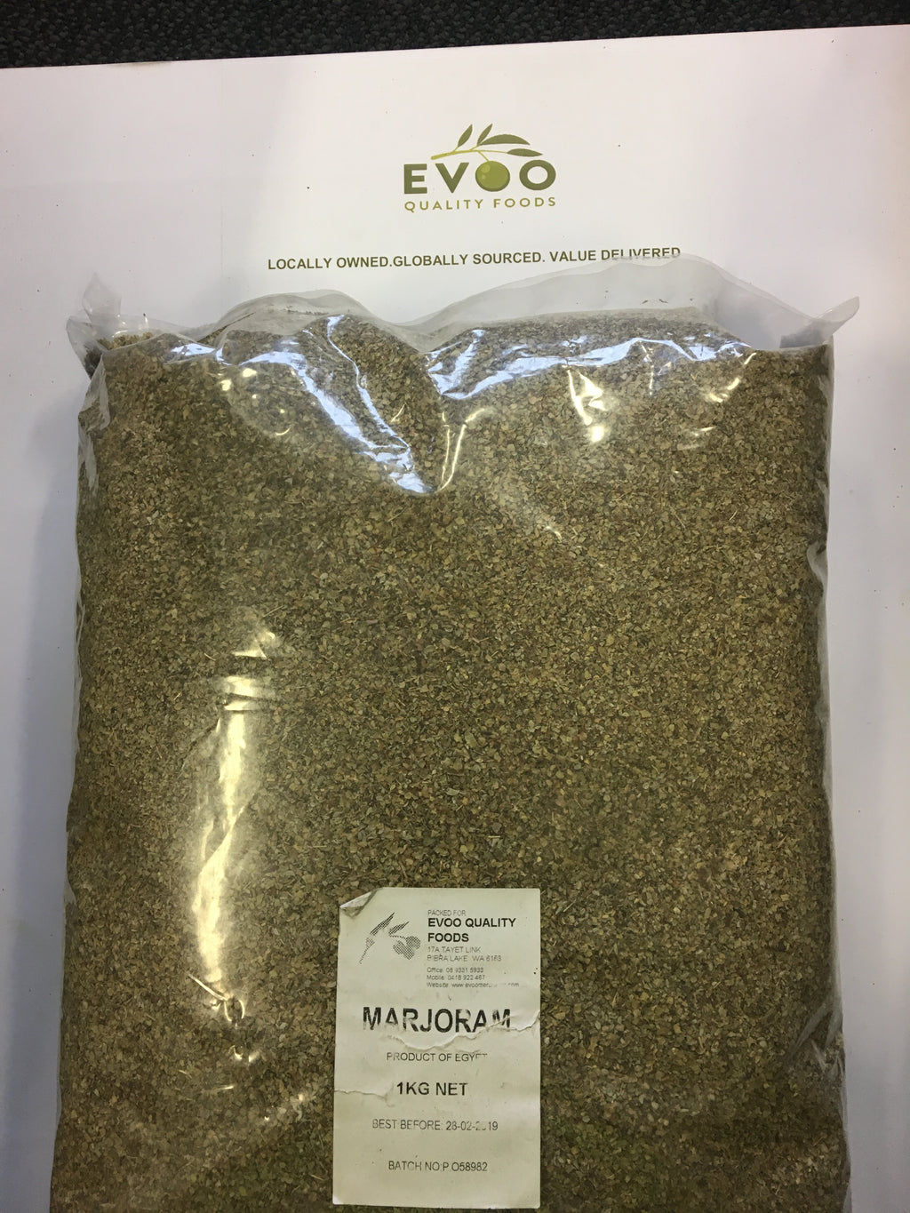 Marjoram Leaves Rubbed Dried 1kg Bag  EVOO QF