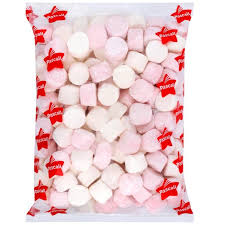 Marshmallows pink and white 6 x 1kg bags carton Pascall