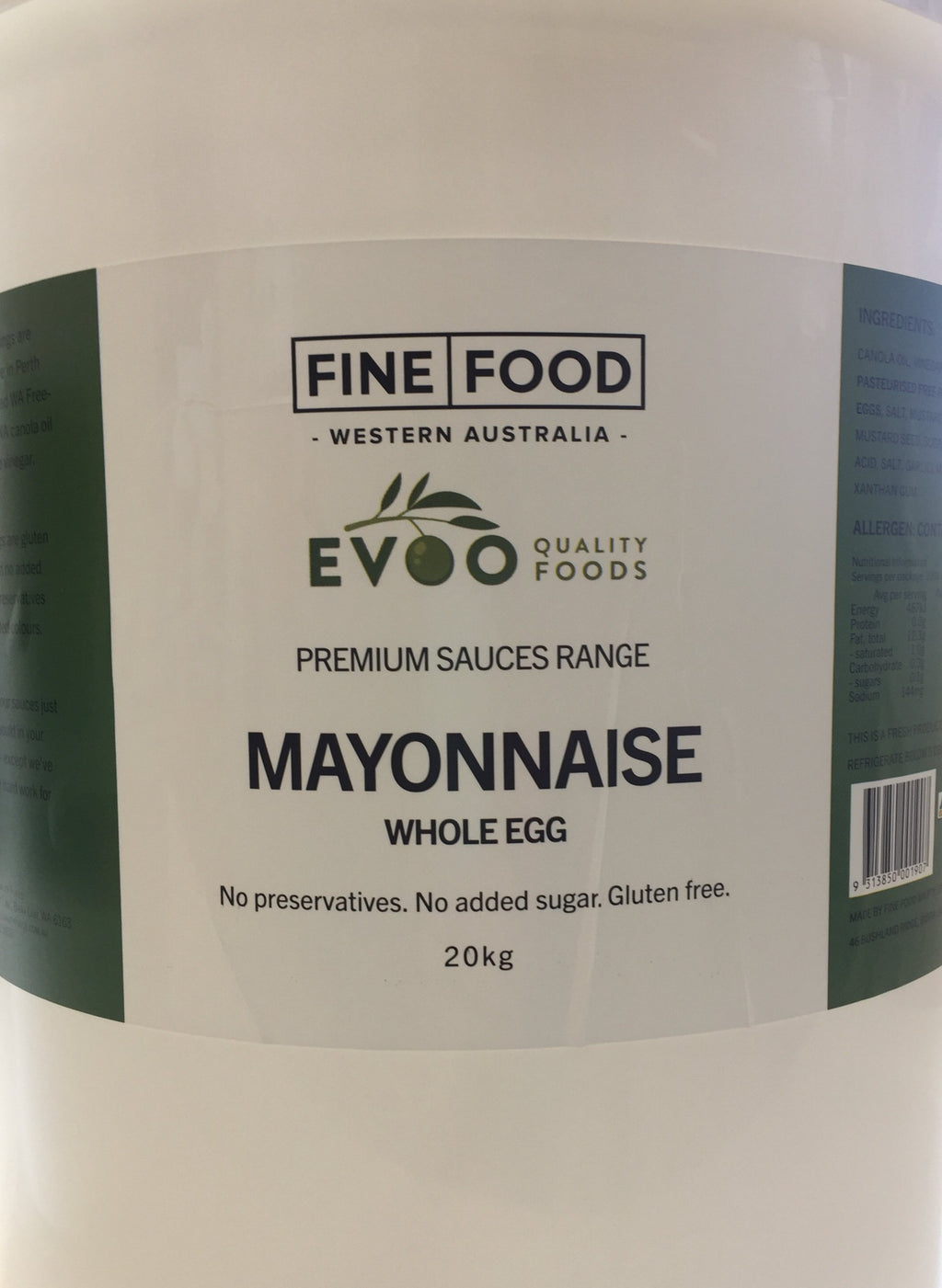 Mayonnaise Whole Egg 20kg Tub EVOO QF