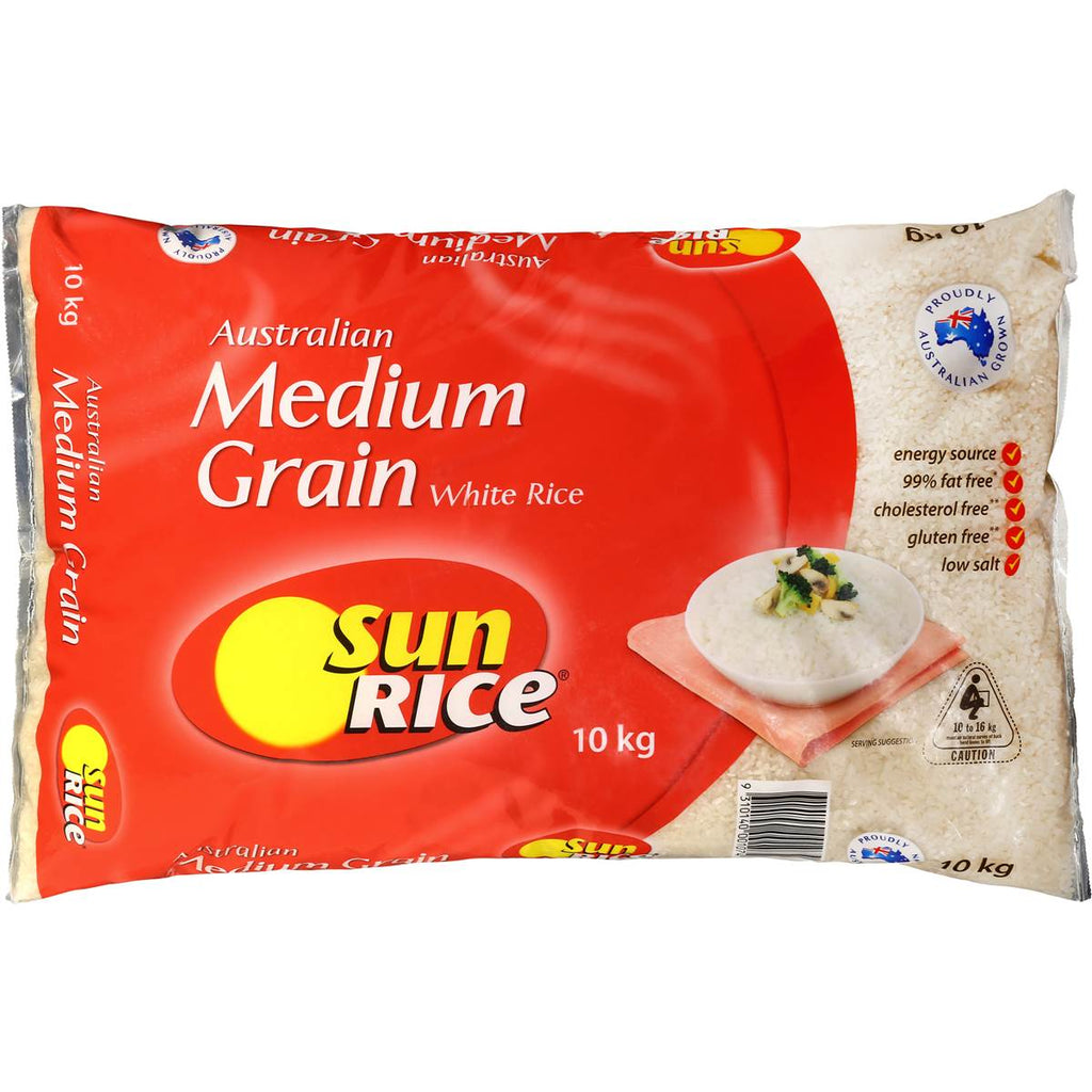 White Medium Grain Rice 10kg Sunrice
