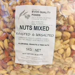 Mixed Nuts Roasted & Unsalted 1kg Bag EVOO QF