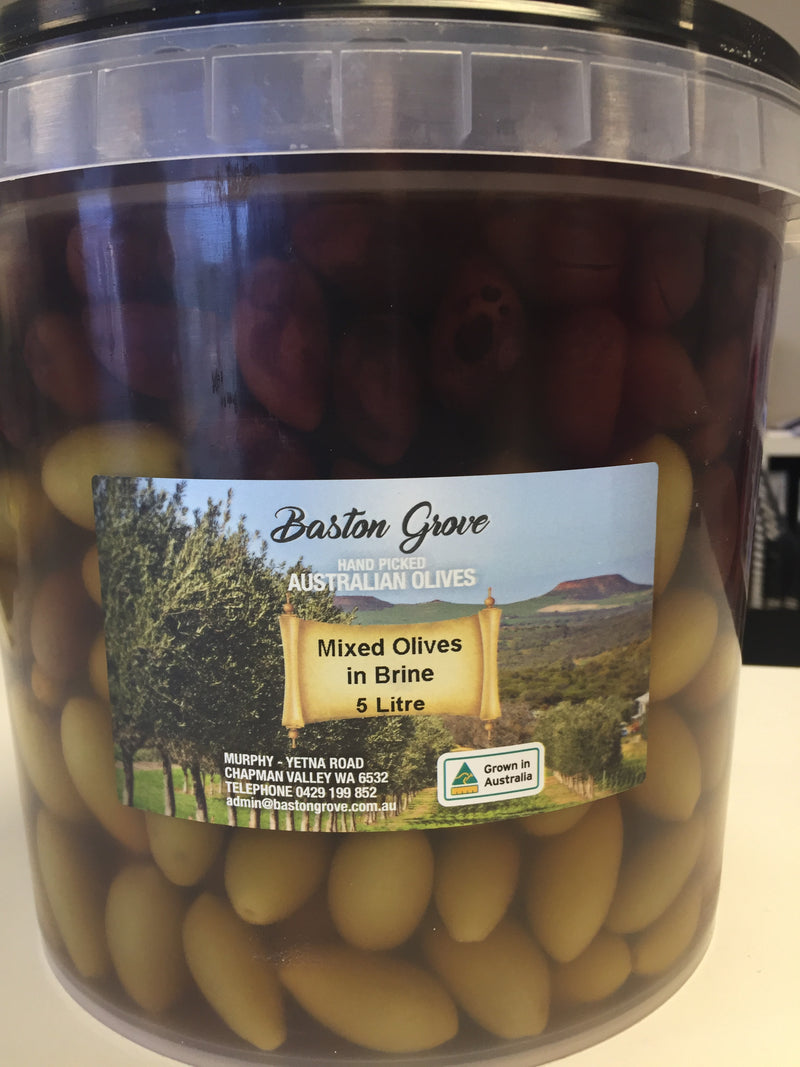 Mixed Whole Olives in Brine 5L tub Baston Grove Chapman Valley