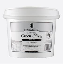 Green Whole Olives in Brine 10kg Tub Penfields