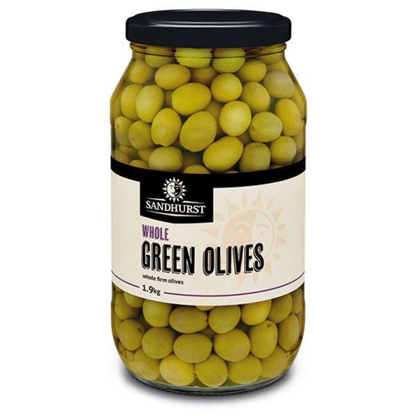Green Whole Olives in Brine 2kg Jar Sandhurst