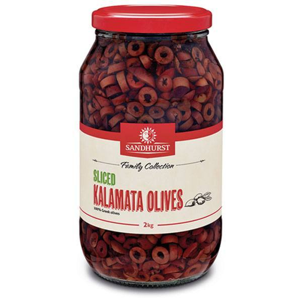 Kalamata Sliced Olives in Brine 2kg Jar Sandhurst
