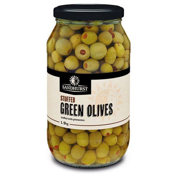 Green Whole Olives Pimento Filled 2kg Sandhurst Jar
