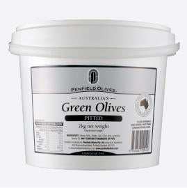 Green Pitted Olives in Brine 10kg Tub Penfields