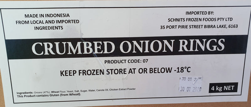 Natural Crumbed Onion Rings 4kg Carton