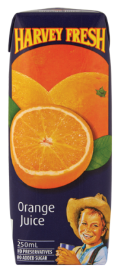 Orange Juice Real U H T (24 x 250ml) Carton Harvey Fresh (80462)