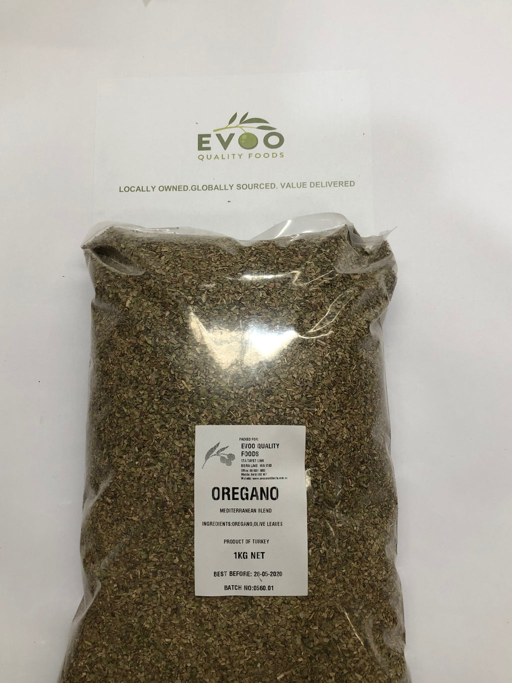 Oregano Rubbed Dried 1kg Bag EVOO QF