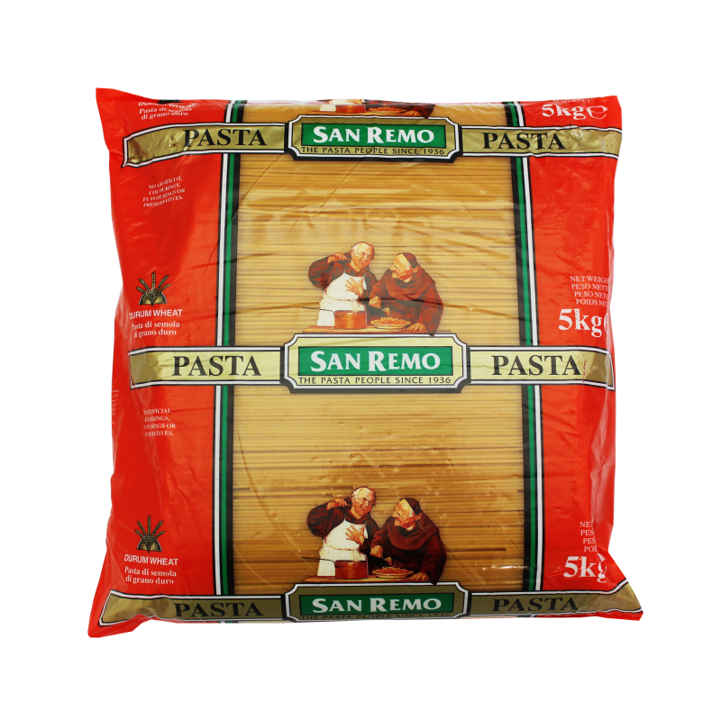 Spaghetti Pasta Dried 5kg Bag San Remo (5#)