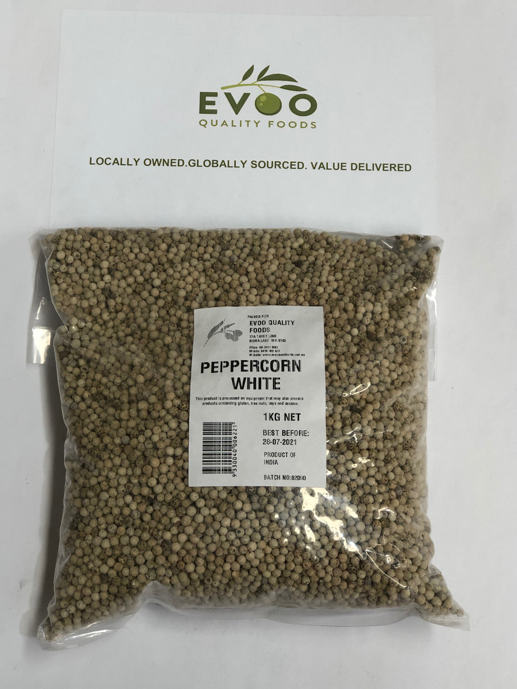 White Peppercorn Whole 1kg Bag EVOO QF