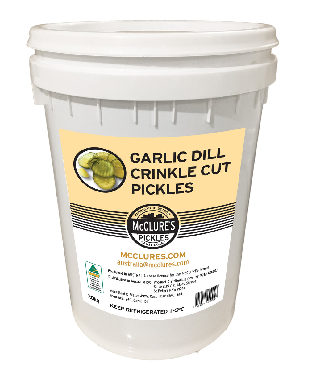 Crinkle Cut Garlic Dill Sliced Pickles 20kg Tub (NDW 10.1kg - Approx 1550 to 1690pc) McClures