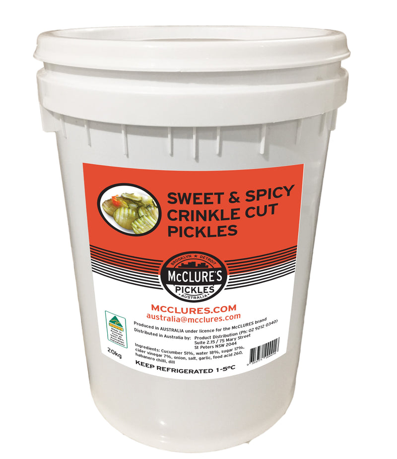 Crinkle Cut Sweet and Spicy Sliced Pickles 20kg (NDW 10.1kg) McClures