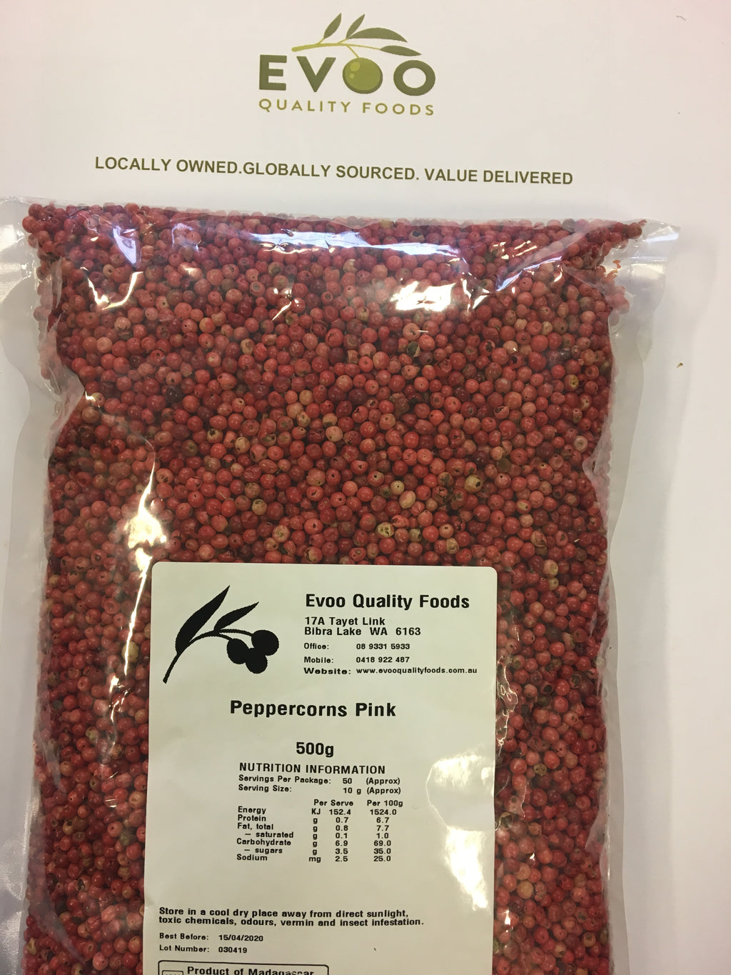 Pink Peppercorn Dried 500g Dried Evoo QF