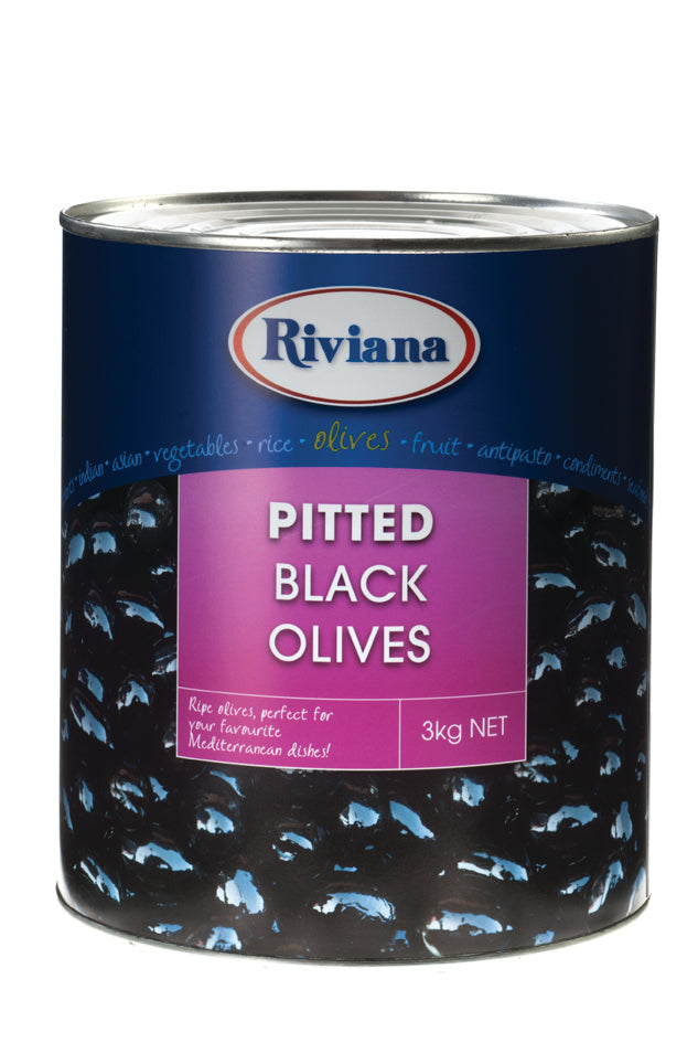 Black Pitted Olives A10 Tin Riviana
