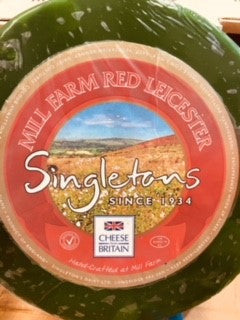 Red Leicester Cheese Green Waxed ** RW** U K Singletons (Pre Order) Priced Per kg