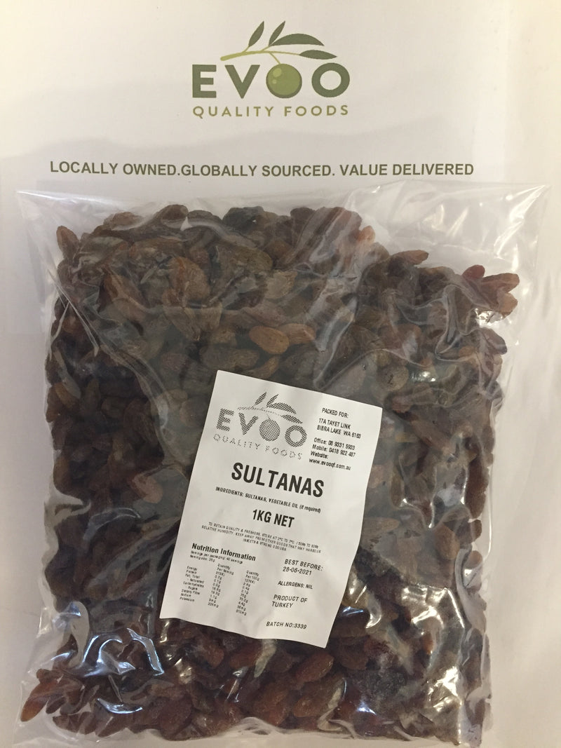 Sultanas Dried 1kg bag EVOO