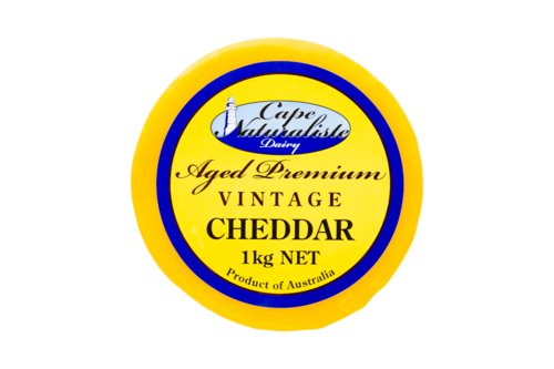 Vintage Cheddar Aged Premium Rounds 1kg Cape Naturaliste (Yellow Waxed)