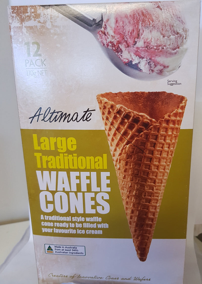 Large Traditional Waffle Cones 12 Pack