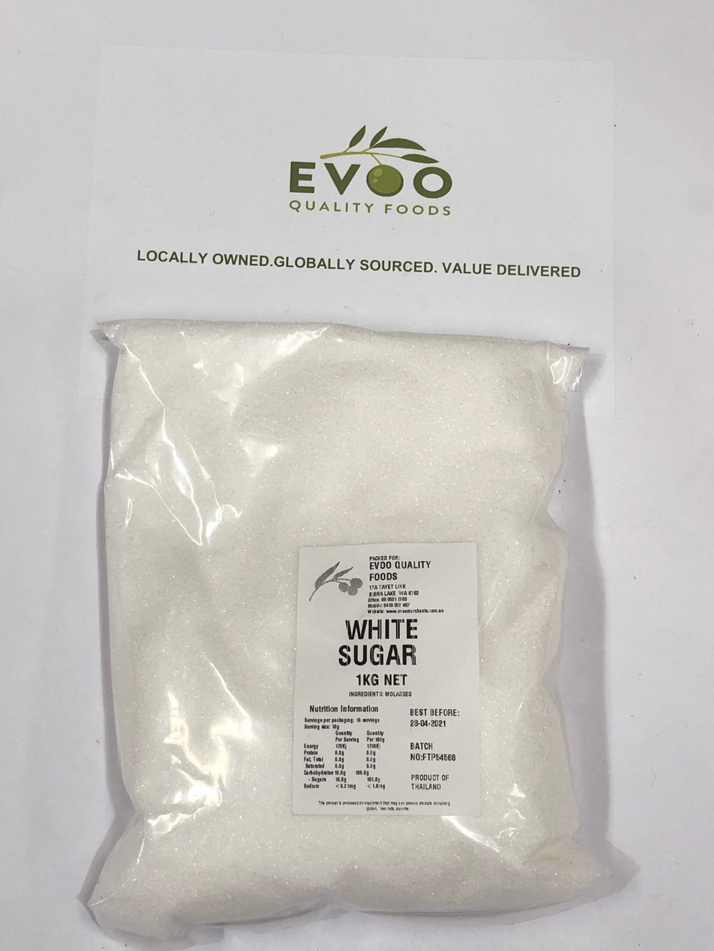White Sugar 1kg Bag  EVOO QF