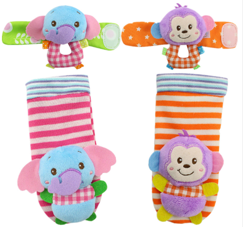 Beautiful Animal Printed Baby Socks With Wrist Straps
