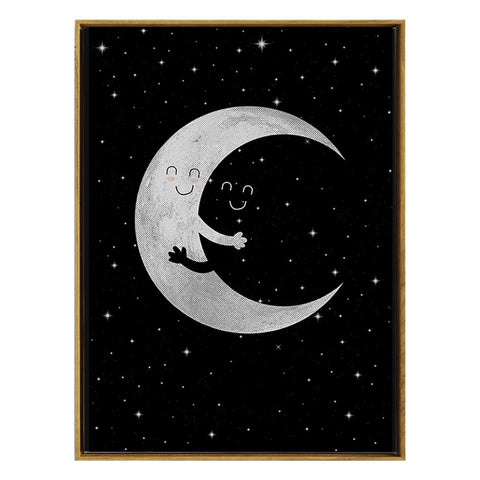 Cartoon Moon Hug Canvas Art Wall Poster