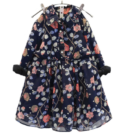 Floral Print Chiffon Dress For Girls