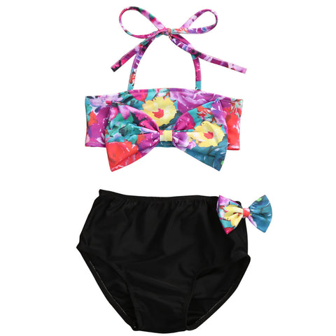 Baby Girls Floral Print Bikini Set Swimwear