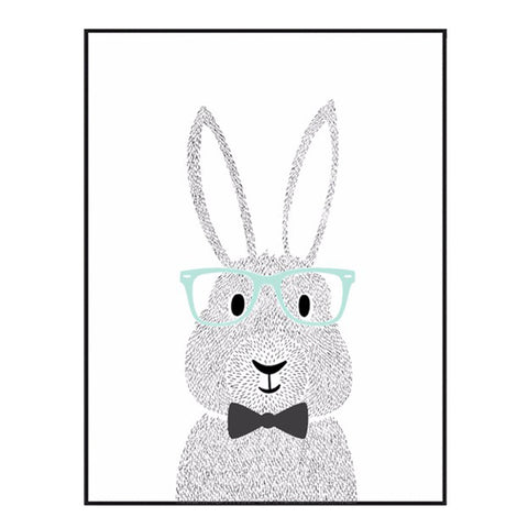Cartoon Rabbit Canvas Art Poster For Wall Decor