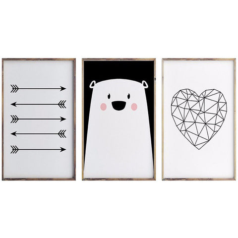 Arrow Bear Heart Prints Canvas Art Wall Posters