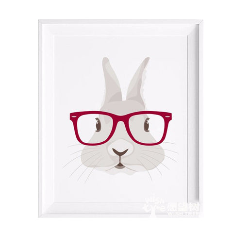 Glasses Rabbit Print Wall Decoration Frame