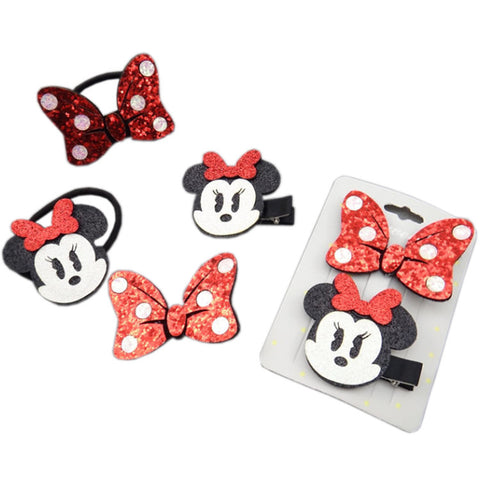 Mickey Mouse Polka Dot Bow Hairband And Hairpins