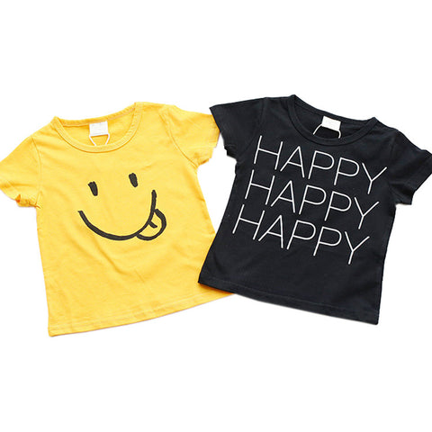 Cute Smile Happy Letter Printed T-shirts For Girl's
