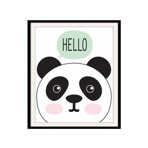 Hello Panda Cartoon Canvas Oil Painting For Kids Room