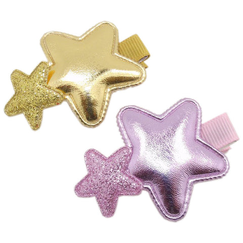 Glitter And Gloss Double Star Clips Hair Accessory