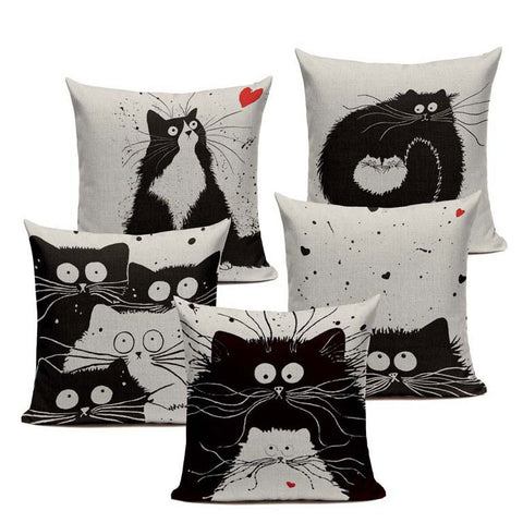 Black And White Cat Family Cushion Cover