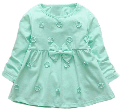 Flower Embroidery Baby Girls Bow Full Sleeves Dress