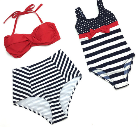 Girl's Striped One Piece Bathing Suit And Bikini Swimwear